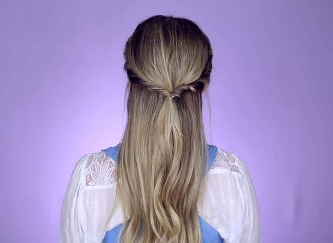 Beauty and the beast inspired Half up half down hairstyle