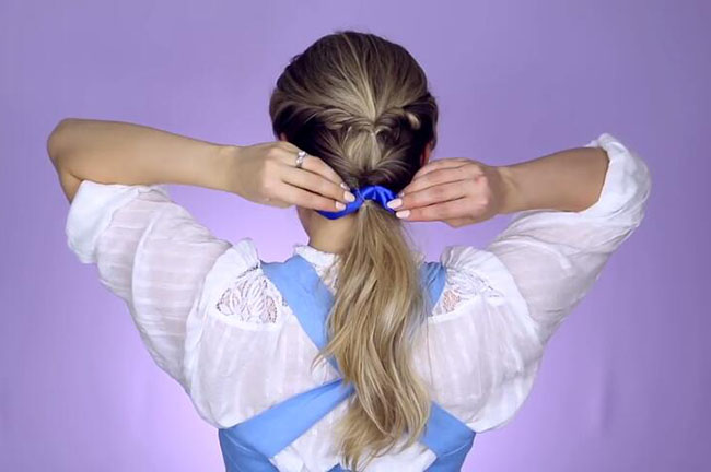Beauty and the beast inspired town ponytail hairstyle