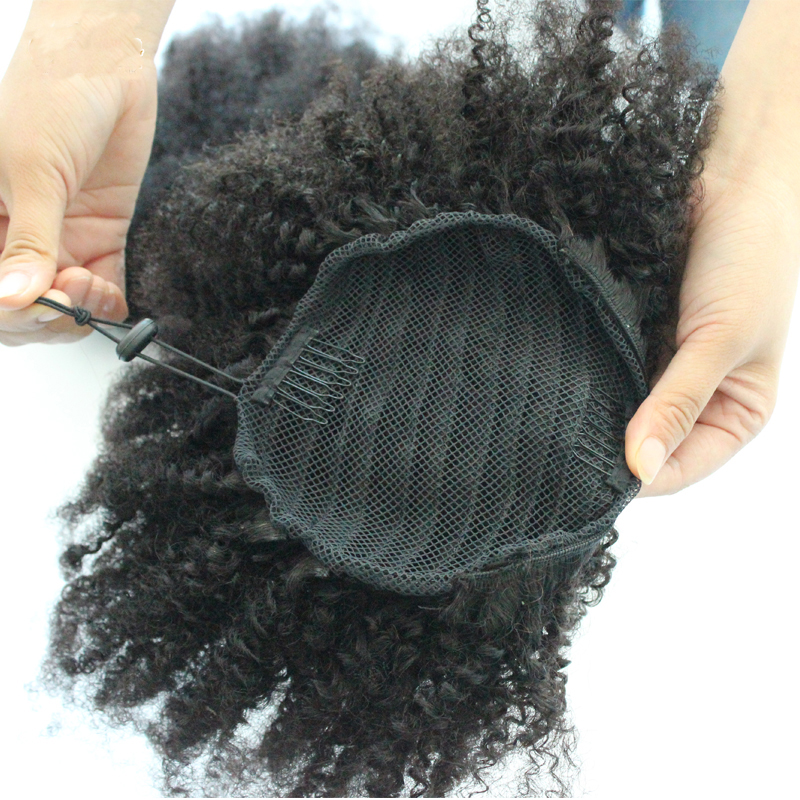 AfroCurly Ponytail Human Hair Extensions Drawstring