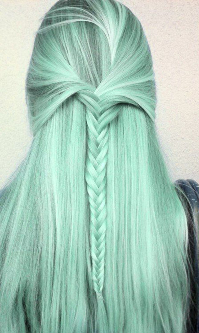 Green Pastel Hair with Braids