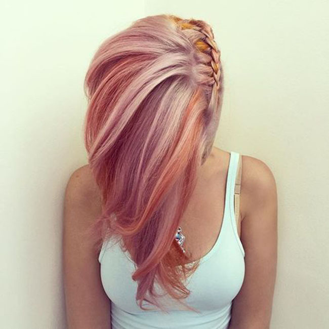 Mix Pink, Purple And Orange Braided Pastel Hair