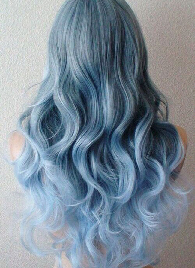 Pastel Ice Blue Ombre Wavy Hair