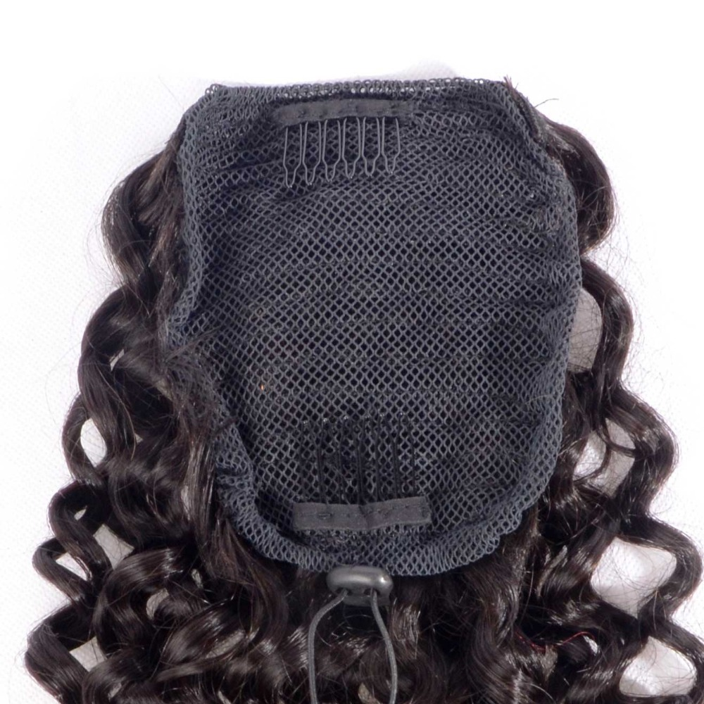8 26 Inch Curly Human Hair Ponytail Extensions Brazilian