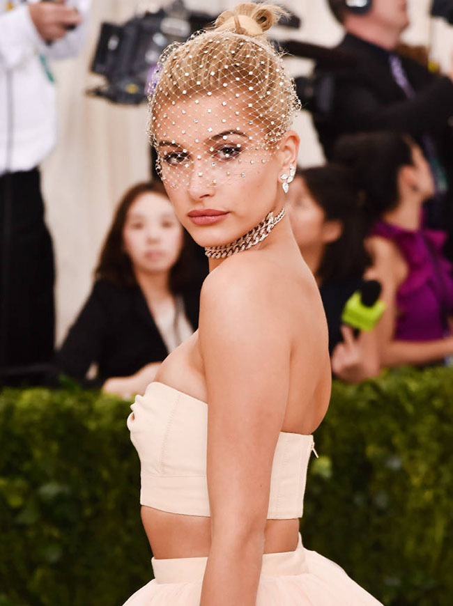 Hailey Baldwin Blonde Stunning Topknot Updo Hairstyle