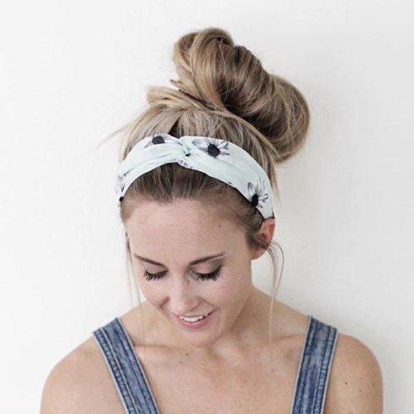 Messy Bun Hairstyle with Headband