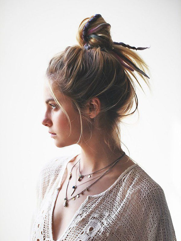 Decorated messy bun